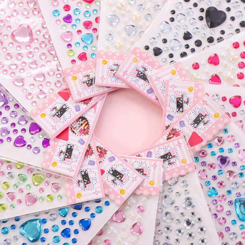 1 Copriletto a Forma di Cuore Sticker Strass Perle Acrilico Scrapbooking Auto Libro Memo Decorazione Giocattolo Per Bambini FAI DA TE Arte Artigianato