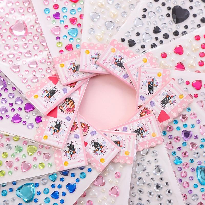 1 Sheet Heart Shape Sticker Rhinestones Acrylic Beads Scrapbooking Car Book Memo Decor Kids Toy DIY Art Craft
