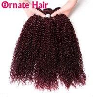Ornate Afro Kinky Curly Hair Bundles Brazilian Hair Weave Bundles 100% Human Hair Extension Remy Hair Bundles 99J Natural Brown