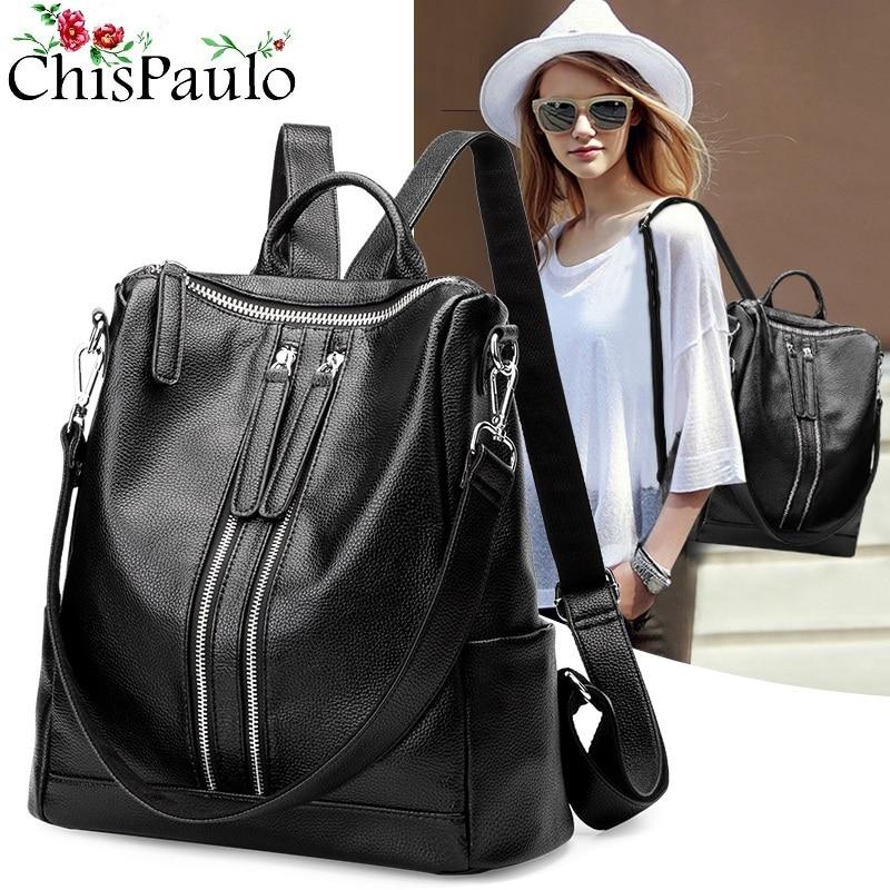 Mochila negra para mujer, Mochila De Cuero genuino, mochila escolar, bolso de hombro de moda para mujer, mochilas de diseñador para adolescentes N004