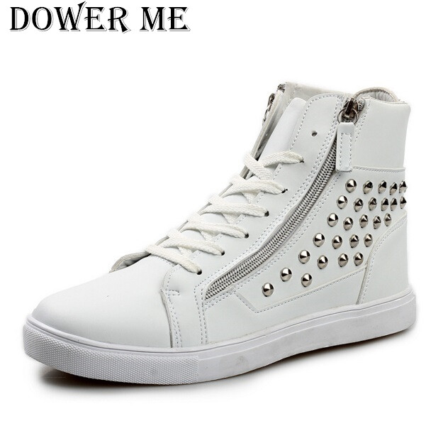 все цены на  Newest Fashion Rivet Studded PU Leather Punk Rocky Ankle Boots Mens High Tops Hip Hop Shoes Lace Up Zip Spring Autumn Trendy  онлайн