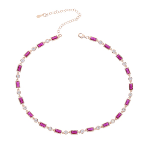 Image 2 - geometric baguette round cubic zirconia cz station link chain red green stone choker necklace for women
