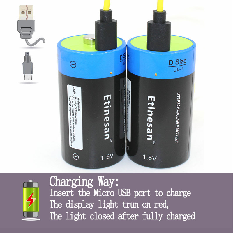 Etinesan 2pcs/lot 1.5V 9000MWH li-polymer rechargeable D size battery li-ion powerful USB battery with USB chargeing cable