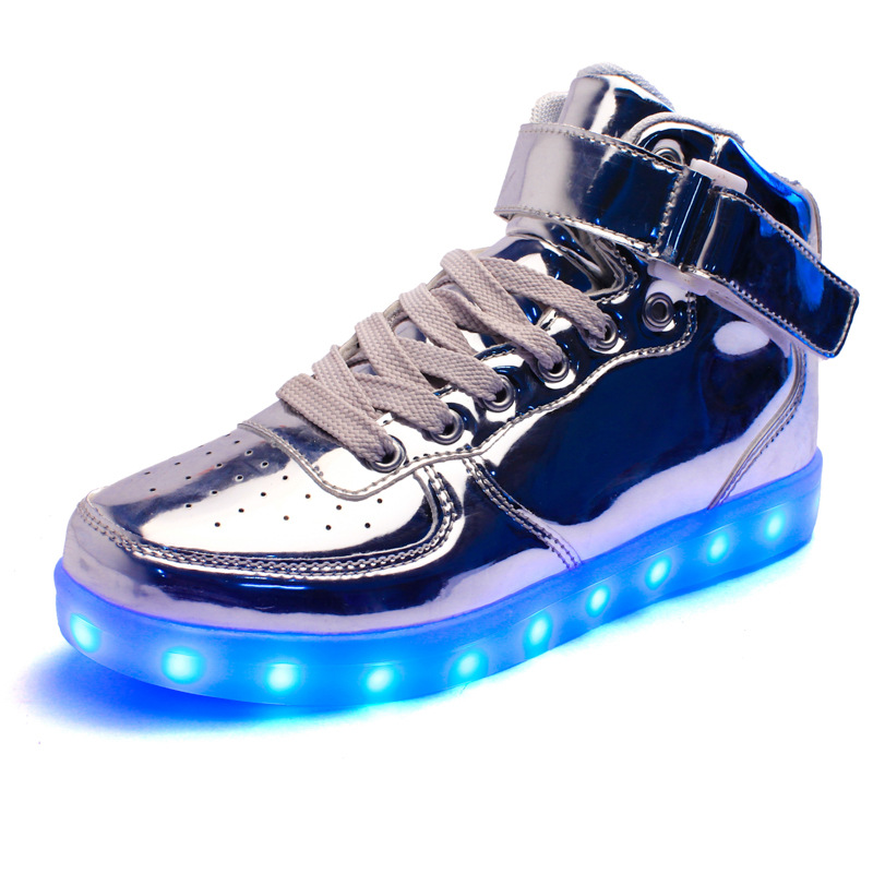 Spring and autumn of 2019 new usb charging kids led shoes leather shoes children light up shoes boys light up shoes kids Mirror