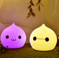 Lovely 7 Color Water Drop Night Light Silicone Soft Children's gift LED Touch Light Christmas gift Cartoon lamp