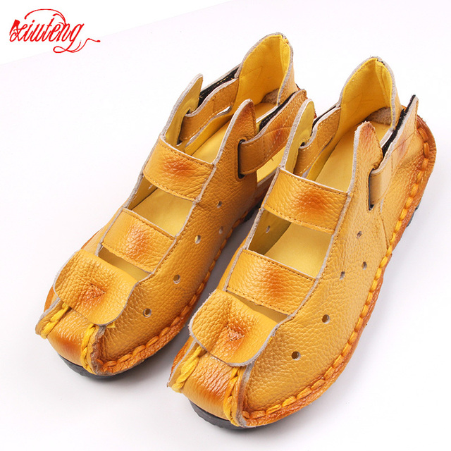 2017 Summer New Soft Bottom Flat Leather Shoes Personality Casual Women Sandals Tunnel Vintage Handmade Sandals For spring 2016
