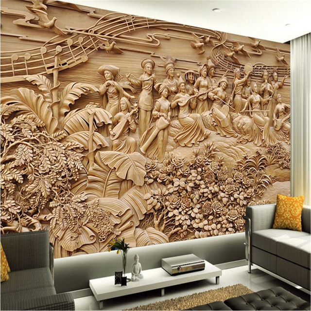 Beibehang customize any fresco wallpaper large wooden carvings