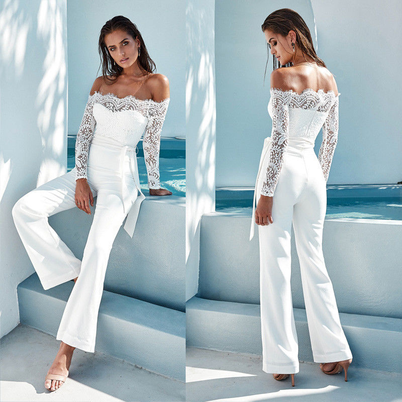 Blouses & Shirts High Street Sexy Women Long Sleeve Solid With Chocker Off Shoulder Jumpsuit Romper Body Suit Stretch Bodycon Top Blouse Summer
