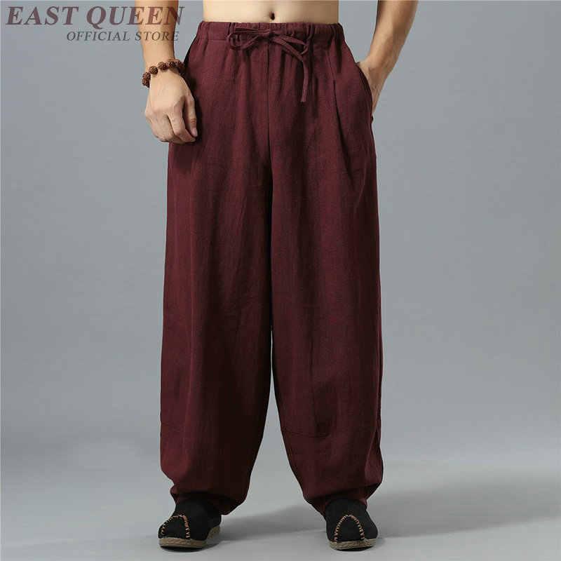 Китайские традиционные кунг-фу ушу Брюки Одежда для мужчин льняные Восточный стиль широкие брюки уличная одежда KK2263