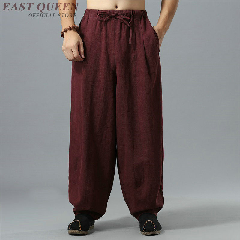 Chinese Traditional Kung Fu Wushu Pants Clothing For Men Male Linen Oriental Style Wide Leg Pants Trousers Streetwear  KK2263