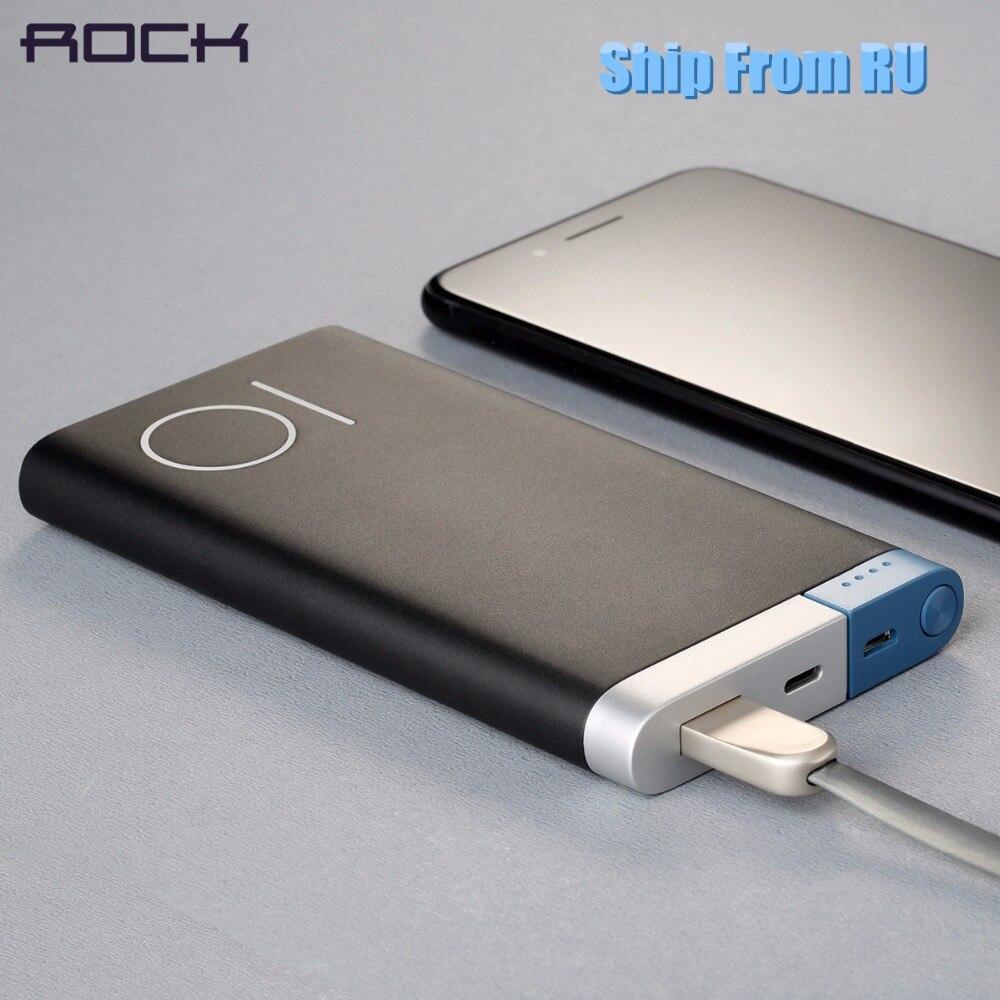 (Schiff Von RU) ROCK Universal Tragbare Power bank 10000 mah für iPhone 8 7 6 plus Batterie Power für Samsung xiaomi