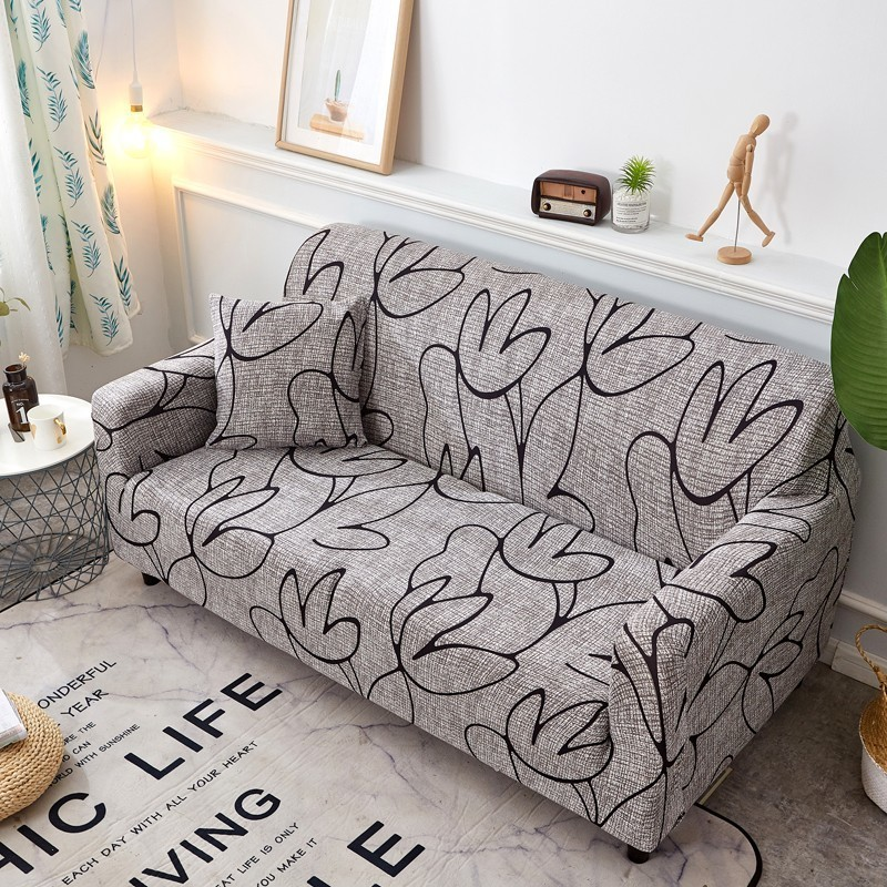 Elegant Sofa Cover Spandex Modern Elastic Polyester Floral 1/2/3/4 Seater Couch Slipcover Chair Living Room Furniture Protector