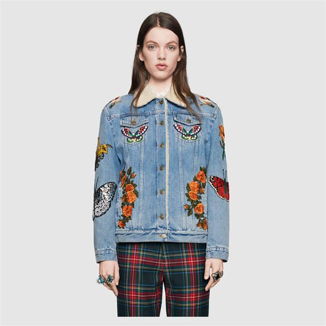 2017 Chaqueta de Mezclilla Bordados Mujeres Tiger Animal Diseño Floral Para Mujer Caliente de la Piel de Invierno Abrigos Básicos Jeans Chaquetas Outwear KM1968