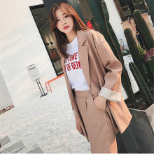 Spring autumn pant Suits Female 2 pieces set Casual Long blazer Jacket Loose Korean of office women clothes coat two suit