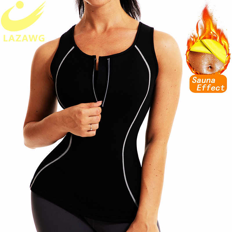 Lazawg Vrouwen Body Shaper Tank Top Hot Neopreen Vest Sauna Zweet Top Taille Trainer Gym Workoutout Shirt Sport Running Doek