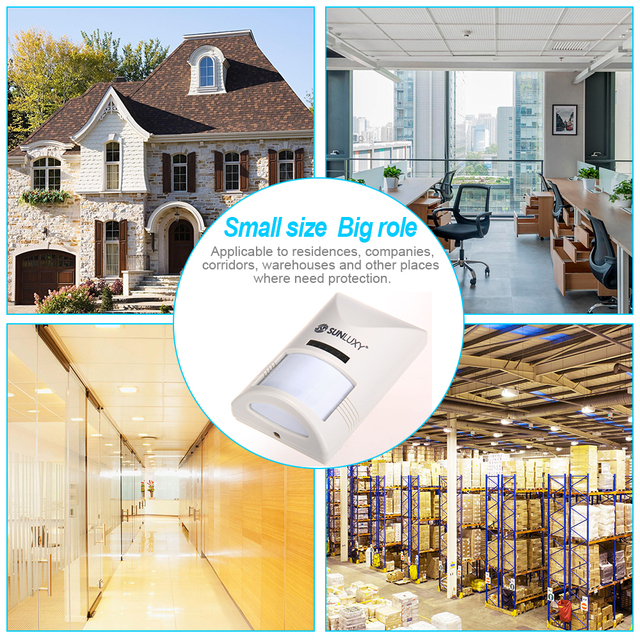 SUNLUXY Wired PIR Detector for Wired Alarm System 10m DC 12V Infrared Motion Sensor for Wired Home Security Burglar Alarm System