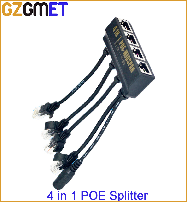 4 In 1  Power Over Ethernet Midspan Splitter 10/100mbps IEEE802.3at/af 12V/2A  IP Camera Poe Splitter kamaljeet kaur and gursimranjit singh crtp performance for voip traffic over ieee 802 11