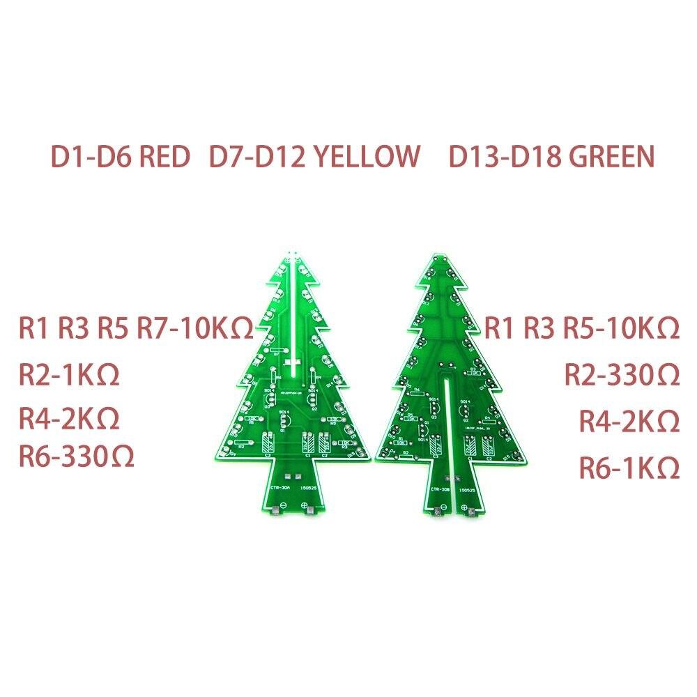 Circuito Led : 3d tridimensional Árvore de natal levou diy kit vermelho verde