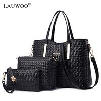 LAUWOO Handbags for Women Shoulder Bags Tote Satchel Hobo 3pcs Shoulder Bag+Handbag+Purse Set