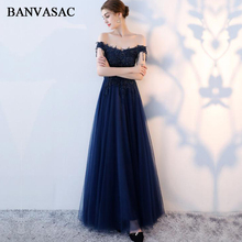 BANVASAC 2018 Tassel Boat Neck Sequined A Line Long Evening Dresses Elegant Lace Beading Backless Party Prom Gowns