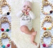 font b Organic b font Eco friendly handmade Teething Natural Round Wood Bracelet Baby Newborn