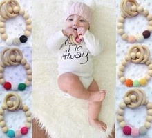 Organic Eco-friendly handmade Teething Natural Round Wood Bracelet Baby Newborn Mom Kids Wooden Teether Toy baby teething ring