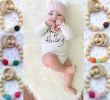 Organic Eco friendly handmade Teething Natural Round Wood Bracelet Baby Newborn Mom Kids Wooden Teether Toy