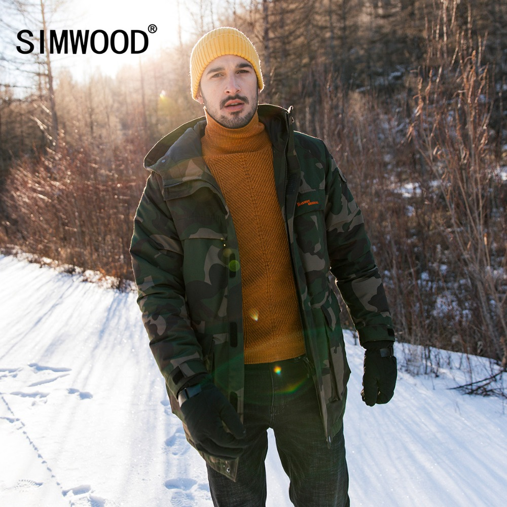SIMWOOD Winter New 90% Grey Duck   Down     Coats   Men Fashion Camouflage Jackets Warm Outwear High Quality Male Clothes 180504