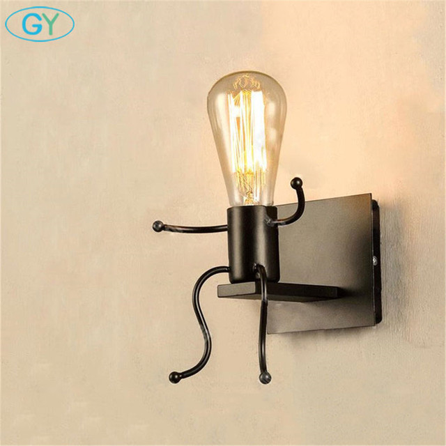 American Country Vintage Wrought Iron Wall Lamp Bedroom Bedside Wall Lights  Aisle Wall Sconces Little Boy