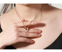 Rome numeral circle Swarovski Crystal Pendant pink gold finish Necklace stainless jewelry Womens Pink Gold chest