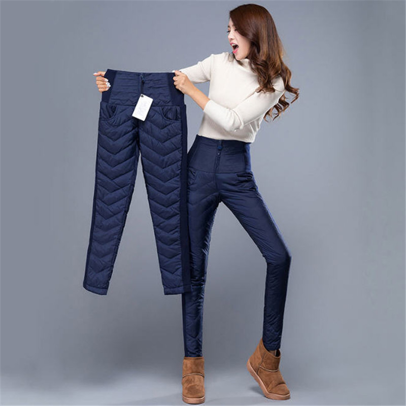 Women Autumn And Winter Pants 2018 New Women High Waist Down Trousers Legging Slim Thick Warm Woman Female Pants Trousers A2432 isaac mizrahi live new white women s 10p petite pull on legging pants $46 page 4