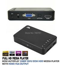 2pcs Mini Autoplay Full HD1080p USB External SD/U Disk HDD Media Player With HDMI /AV/VGA Output in Aluminum shell