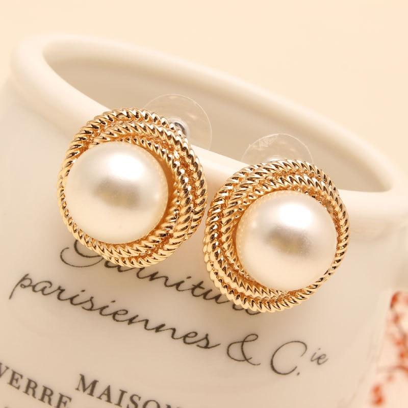 9f2cc2b5b68 Fashion Seashell Rea Big Pearl Earrings Stud High Quality Paragraph 18k Gold  Plated Pearl Earrings Jewelry