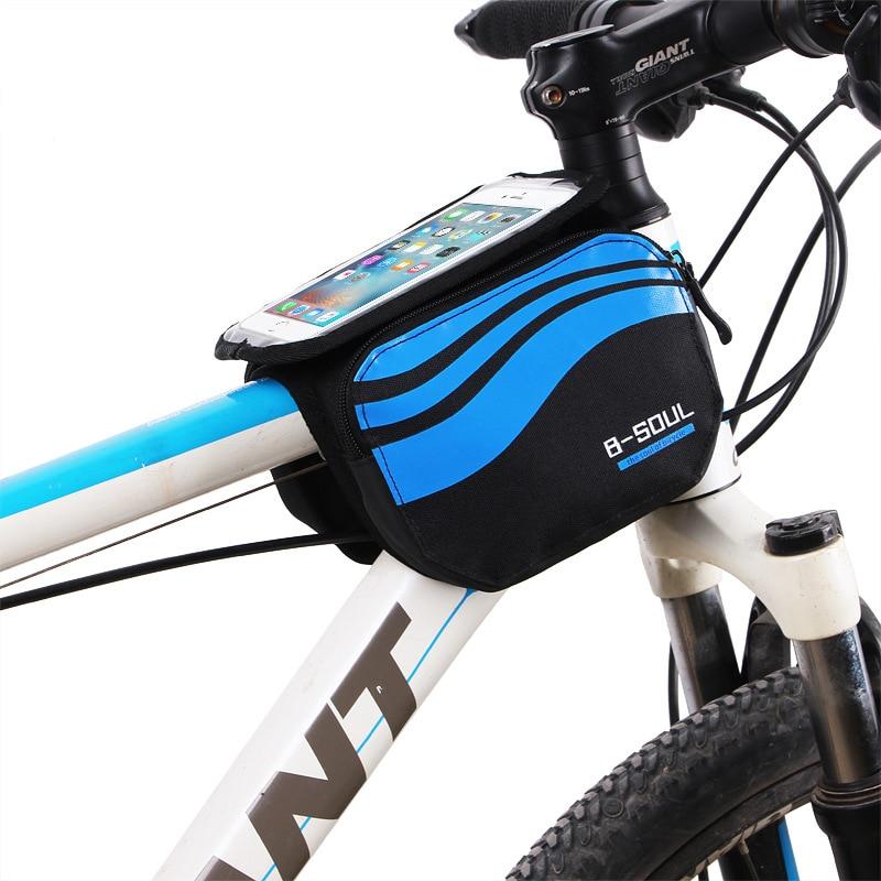 Delantera de la bicicleta pantalla táctil teléfono bolsa MTB Road bicicleta ciclismo ciclo bolsa móvil bolsa frontal 5,7 pulgadas celular bolsa bicicleta accesorios