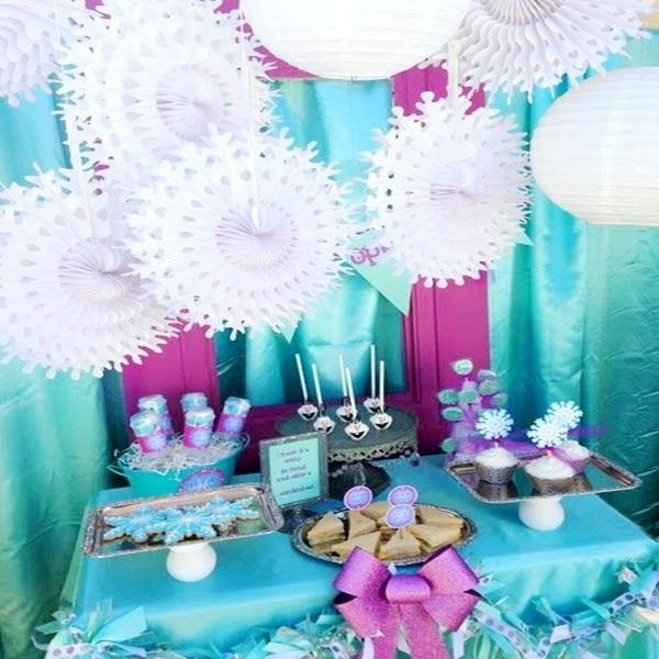 10pcs 50cm Large Tissue Paper Snowflake Fans Party Decoration