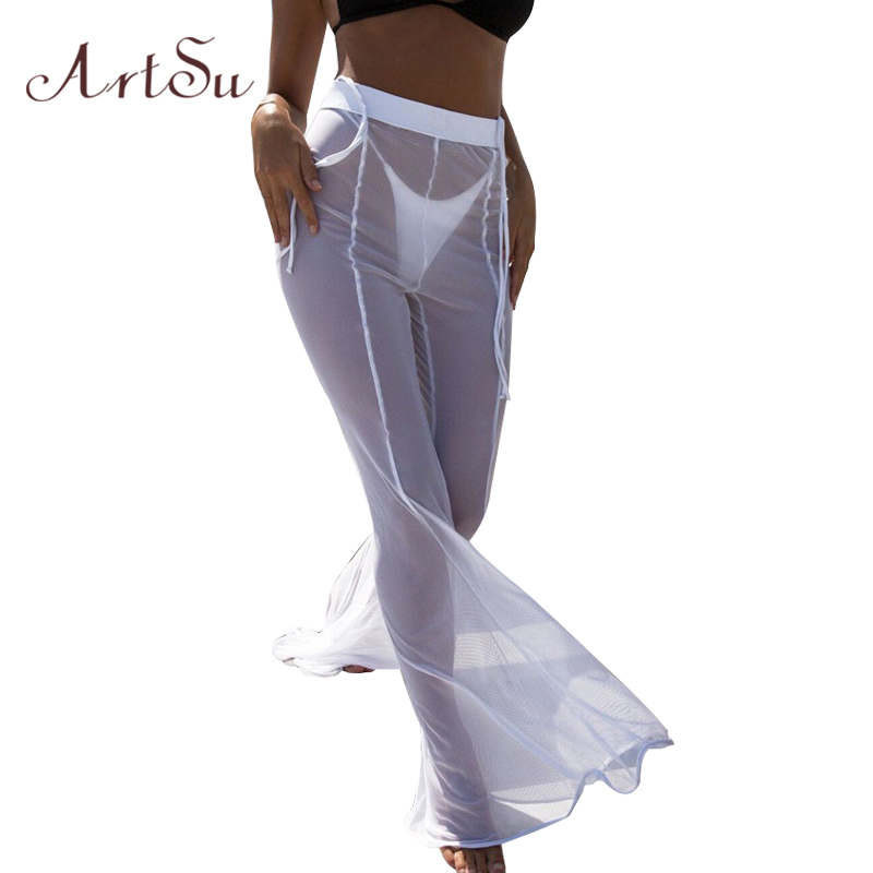 ArtSu Sexy Women Mesh Flare   Wide     Leg     Pant   See Through Transparent   Pants   Beach Long Party Trousers Pantalon Femme ASPA30031