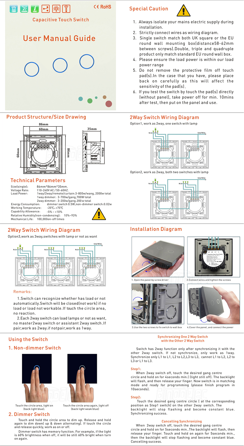 1gang 2way Touch Light Switchsilver Aluminum And Glass Panel Smart 2 Way Switch Wiring Uk Diagram