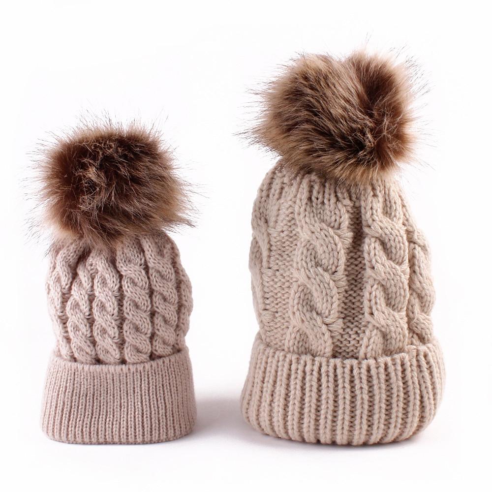 c7909d5cdf4 Mom and Baby Matching Knitted Hats Warm Fleece Crochet Beanie Hats Winter  Mink PomPom Kids Children Mommy Headwear Hat Caps-in Skullies   Beanies  from ...
