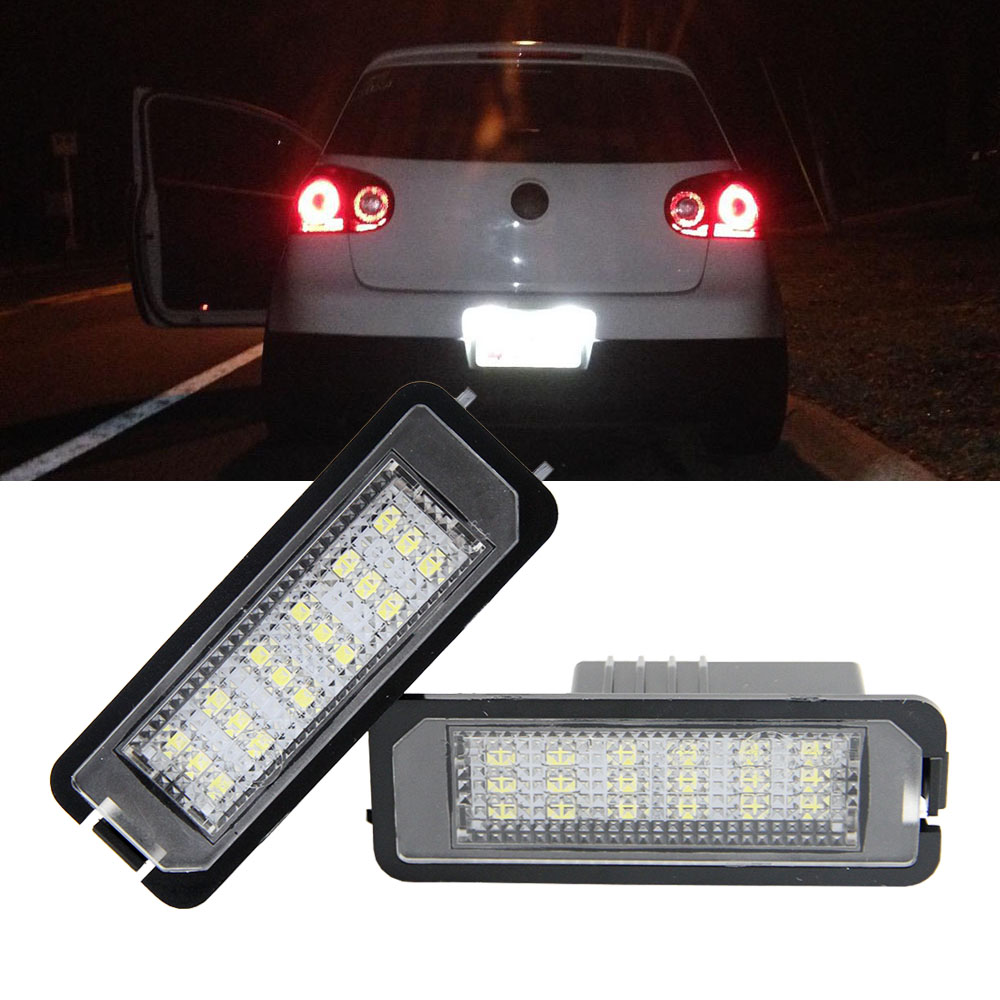 2X Car LED License Plate Lights 12V no error For Volkswagen Passat CC Golf 4 5 6 VW Polo Phaeton New Beetle For SEAT Leon car for porsche smd3528 number led license plate lights for vw golf gti 5 6 passat scirocco phaeton new beetle cc c 5