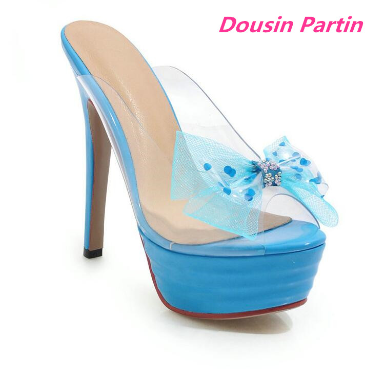 Dousin Partin Party Shoes Platform Sexy Women Sandals Platform Peep Toe All Match Thin High Heel