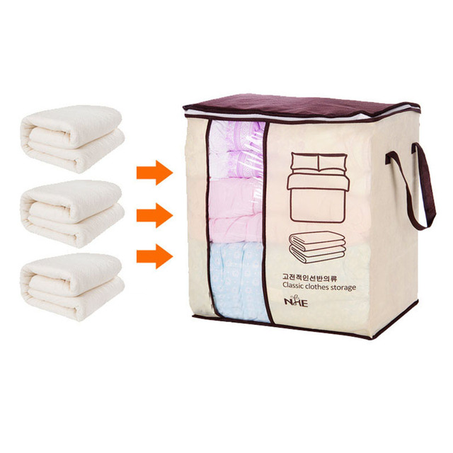 2018 new Non-woven Portable Clothes Storage Bag Organizer 45.5*51*29cm Folding Closet Organizer For Pillow Quilt Blanket Bedding 5