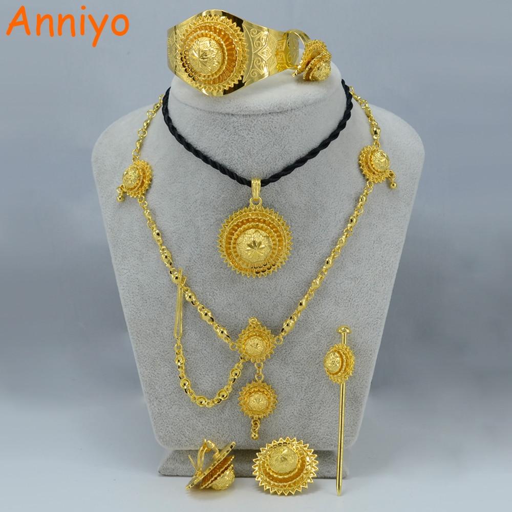African Wedding Gifts: Anniyo Ethiopian Jewelry Set Gold Color Eritrea Habesha