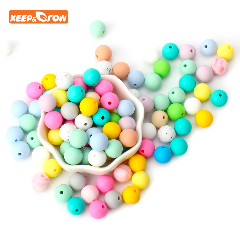 Keep&grow 10Pcs Silicone Beads 12mm Baby Teething Round Teether Bead For Nursing Necklace Infant Pacifier Chain DIY Making
