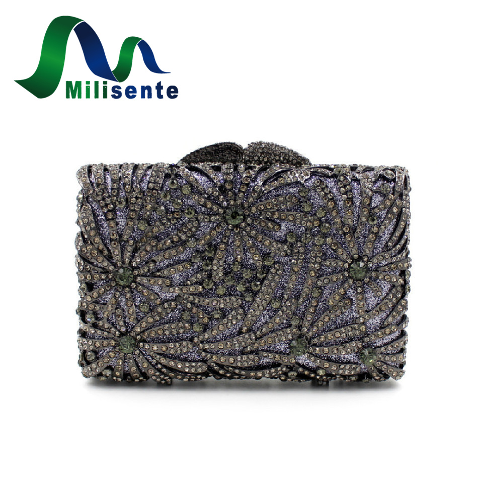New Women Deluxe Crystal Flower Lady Clutches Evening Bags Dinner Banquet Party Handbags Wedding Purse All Black Shoulder tetris party deluxe