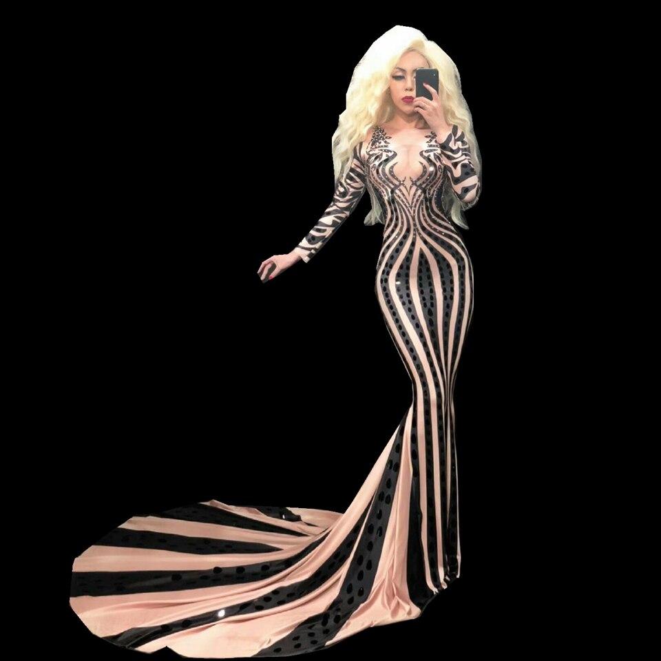 Модное черное платье с блестками с длинным рукавом стразы женский костюм для выпускного вечера праздничное платье с длинным шлейфом Сексуальное вечернее облегающее платье