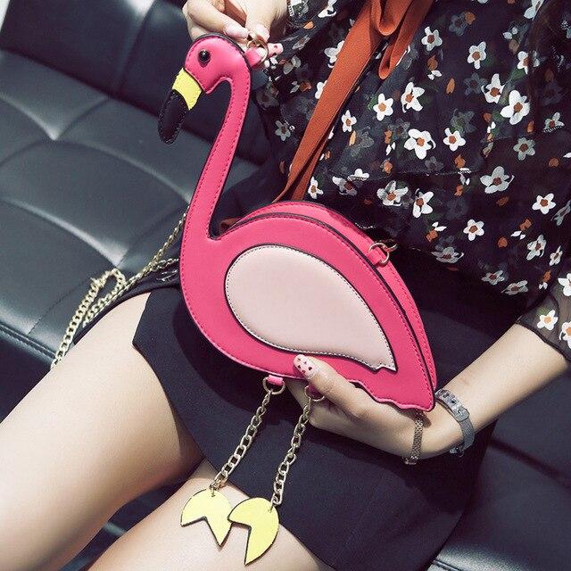 Fashion Pu leather embroidery flamingo shape casual chain purse ladies shoulder bag handbag women's crossbody mini messenger bag