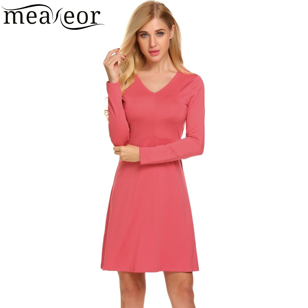 Meaneor 2017 A Line Solid Mini Autumn Dress Women Casual V Neck Long ...