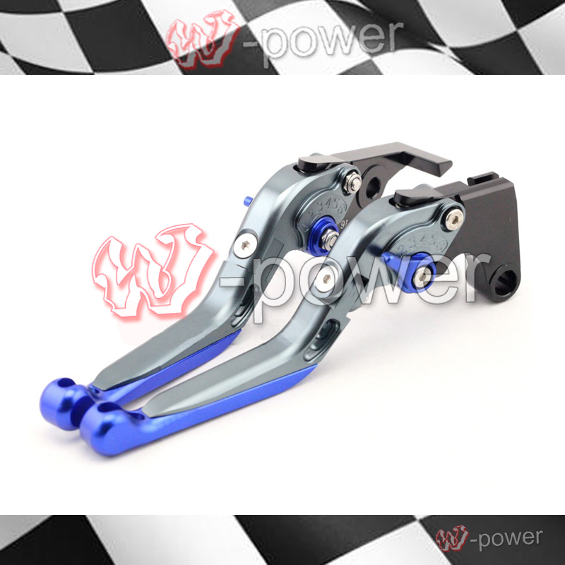 fite For YAMAHA FZ1 / FZ6 Fazer FZ6R XJ6 Diversion Gray + Blue Motorcycle Adjustable Folding Extendable Brake release lever
