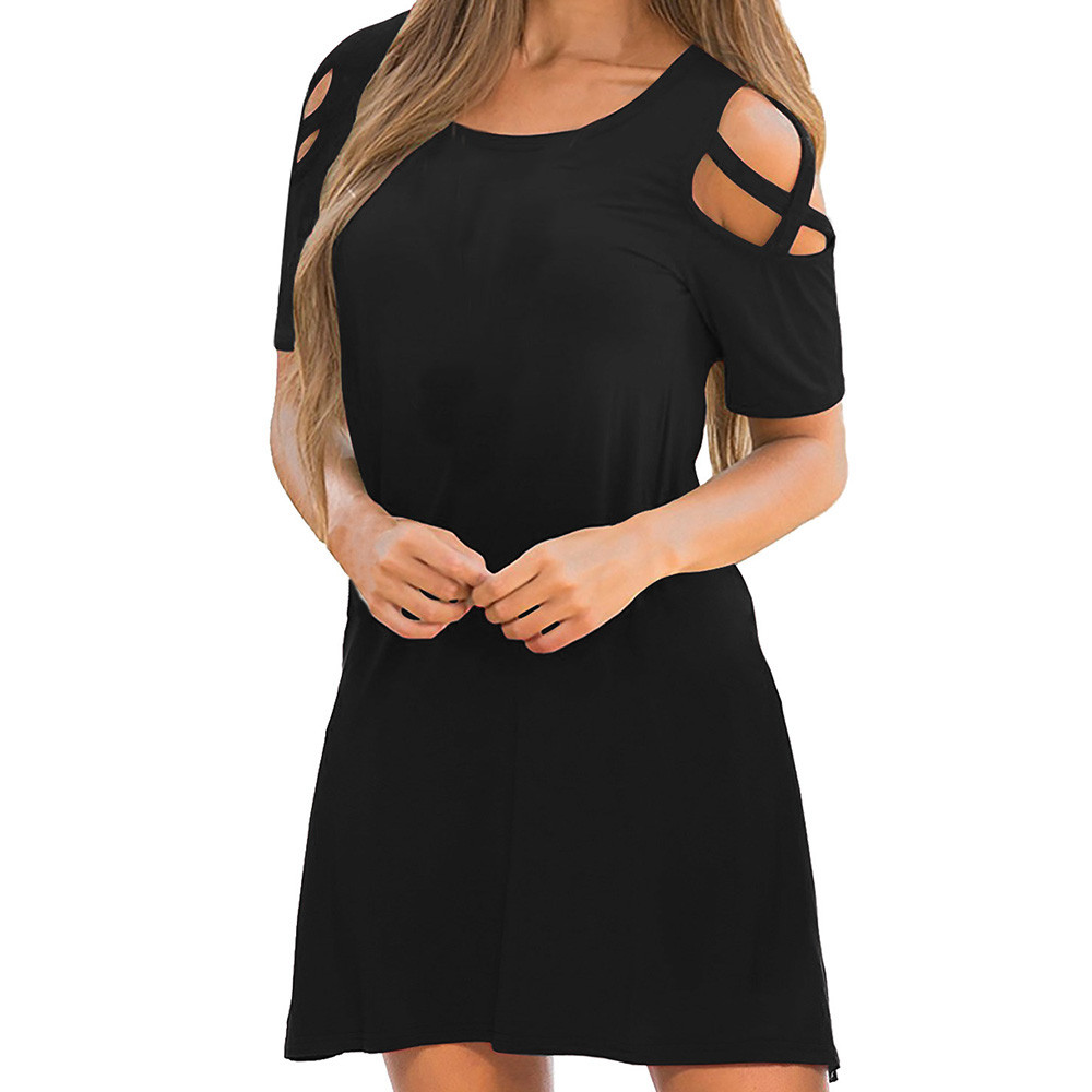 snowshine YLW  Women Summer Cross Short Sleeve Off Shoulder T-Shirt Dress  free shipping