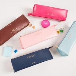 الكلاسيكية الجلود الاصطناعية اليومية قلم رصاص حقيبة البني الوردي الأزرق البحرية 20*6.5*5.5 سنتيمتر الكورية القرطاسية 2016 الطلاب هدية